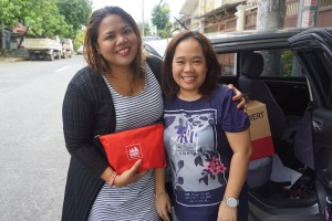 With Kaye Koo of SinagTala Foundation during turnover of vitamins and toys_