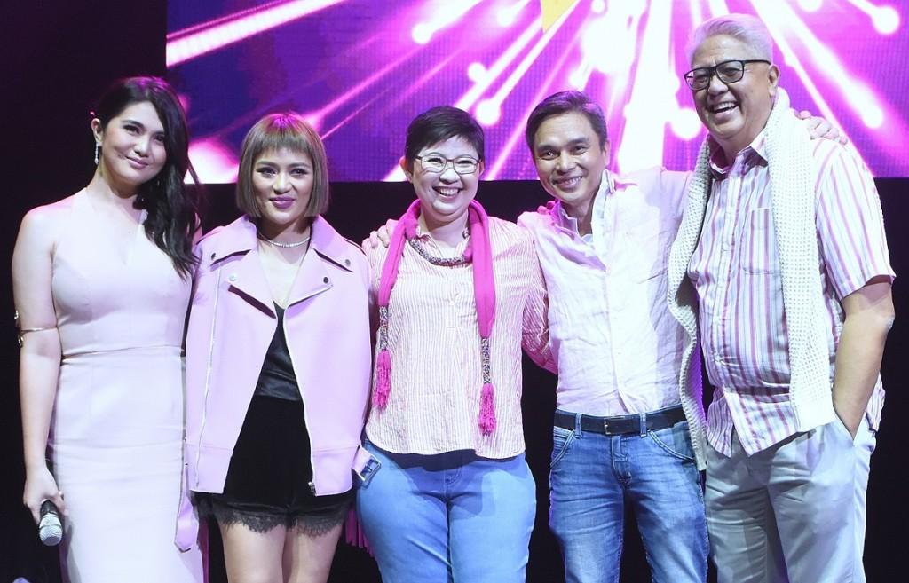 (L-R): Event host, Dimples Romana with mentors Georcelle Dapat-Sy, Kara Escay, Robert Alejandro, and Maestro Ryan Cayabyab