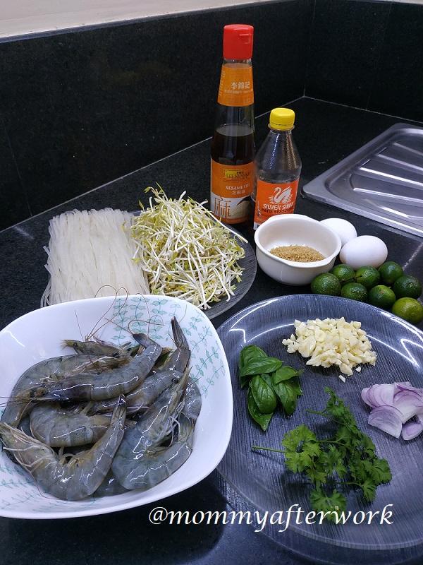 MommyAfterWork Shrimp Pad Thai - Ingredients